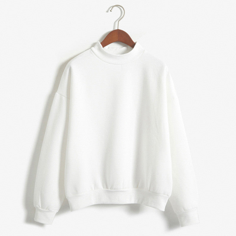 Plain Turtle-Neck Sweatshirts
