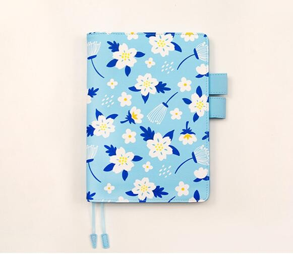 Flower Print Blue Color Leather Journal Cover