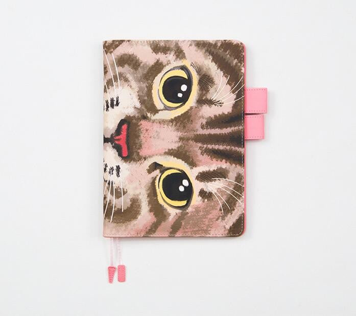 Cat Face Print Leather Journal Cover