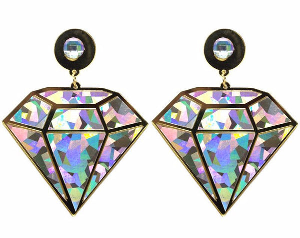 Diamond Geometric Big Drop Earrings
