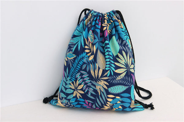 Flower Printed Canvas Drawstring Bag