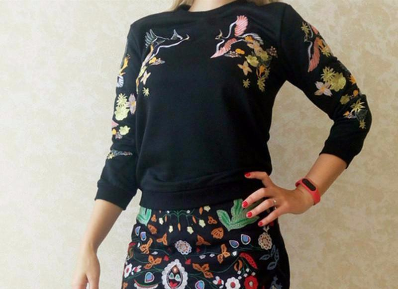 Casual Embroidery Floral Pattern Sweatshirts