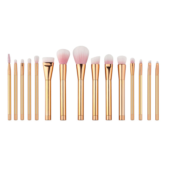 Gold Color Professional Make Up Brushes (15 Brushes)