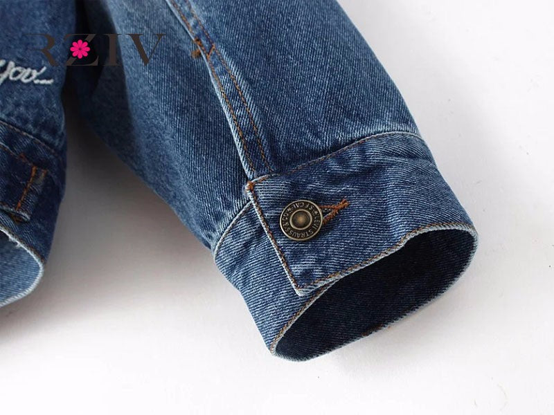 Casual Double Pocket Embroidery Denim Jacket