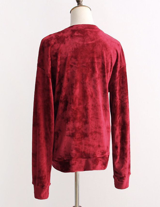 Long Sleeve Velvet Crew Neck Sweatshirt