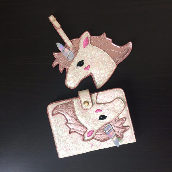 Shiny Pink Unicorn Passport Holder Wallet