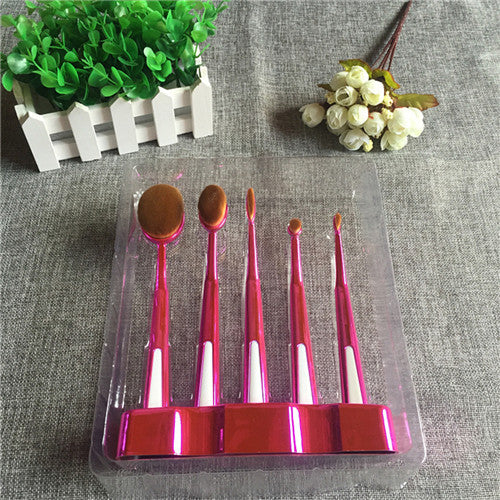 Toothbrush Style Makeup Brushes With Stand (5 Brushes)