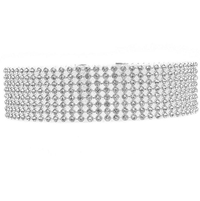 Crystal Rhinestone Thick Wide Sparkly Choker Necklace