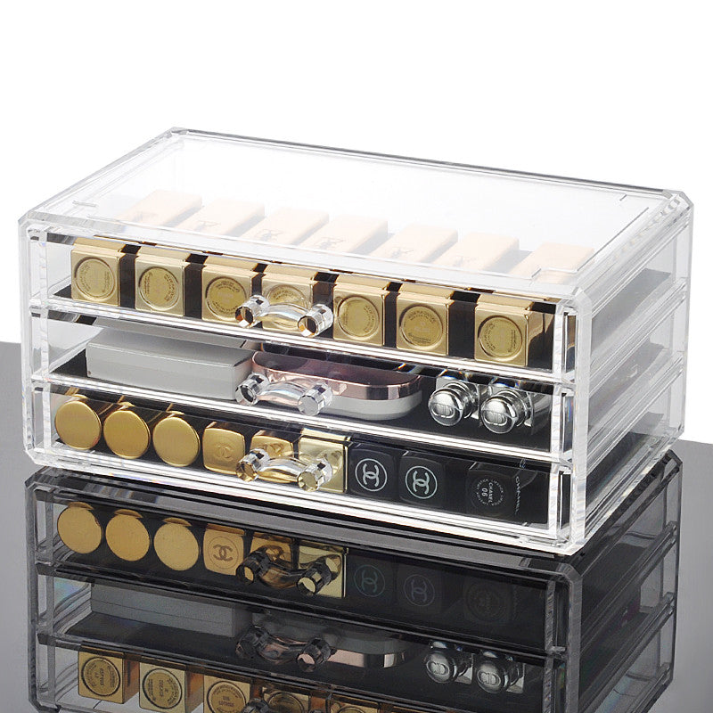Transparent Acrylic Makeup and Jewelry Organizer (3 Drawer)