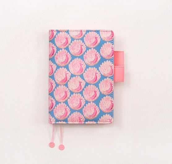 Floral Print Leather Cover Notebook