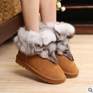 Fox Head Style Genuine Leather Flat Snow Boots For Women