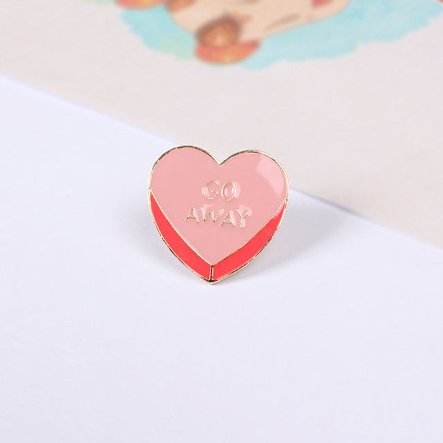 Go Away Heart Brooch Pin