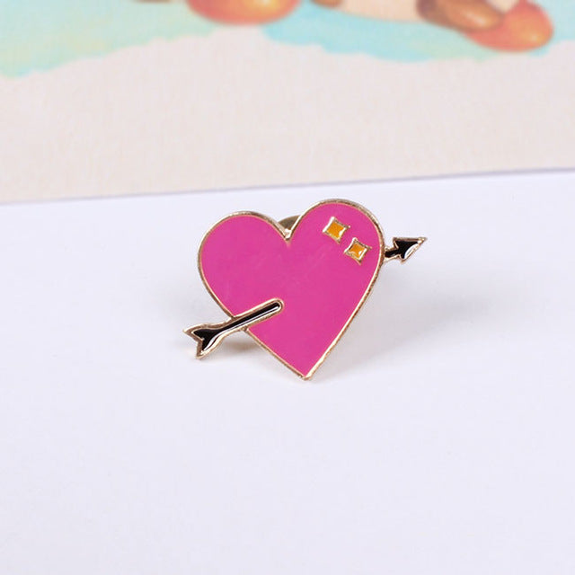 Heart Arrow Brooch Pin