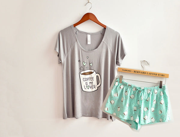 Coffee Is My Lover Print Cute Pajamas Set