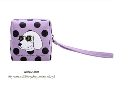 Canvas Square Creative Character Print Coin Purse