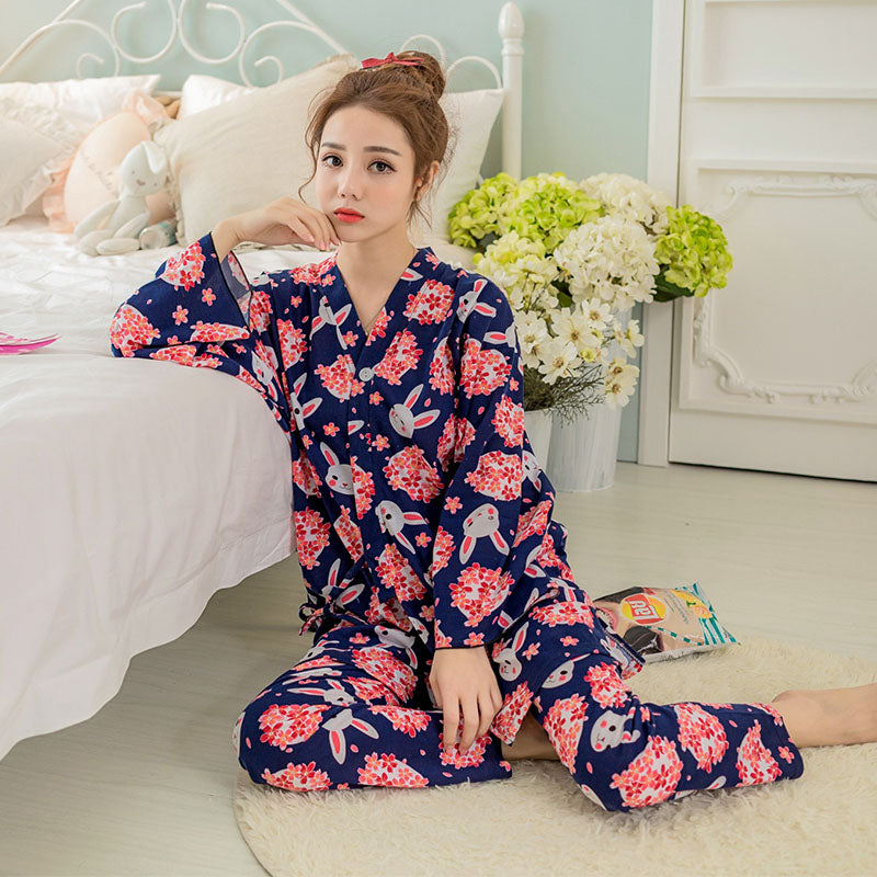 Japanese Cherry & Cute Rabbit Print Pajamas