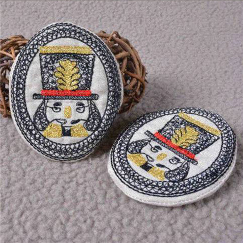 Fashion Cartoon Face Fabric Handmade Embroidery Brooch Pins