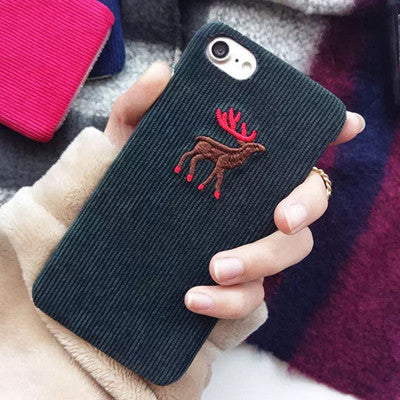Animal Corduroy Phone Cover For iPhone