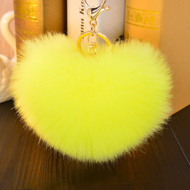 Heart Shape Rabbit Fur Key Chains