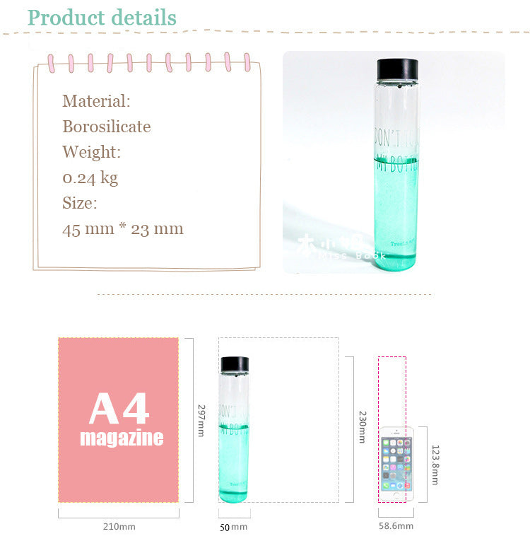 Gradient Color Tube Style Water Bottles