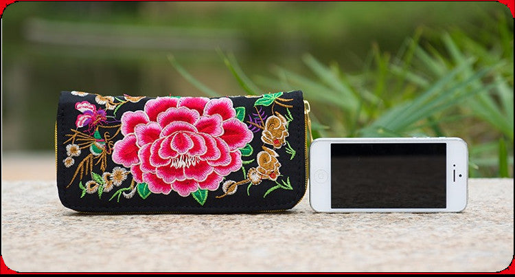 Embroidered Double Faced Floral Design Purse