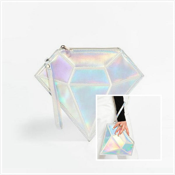 Holographic Diamond Zipper Clutch