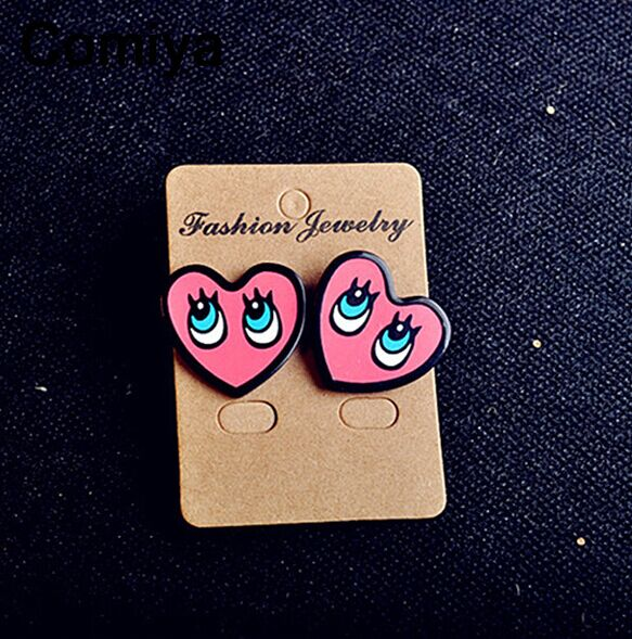 Cute Acrylic Color Heart Shape Stud Earring