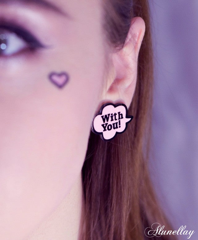 Cute Acrylic With You Stud Earring
