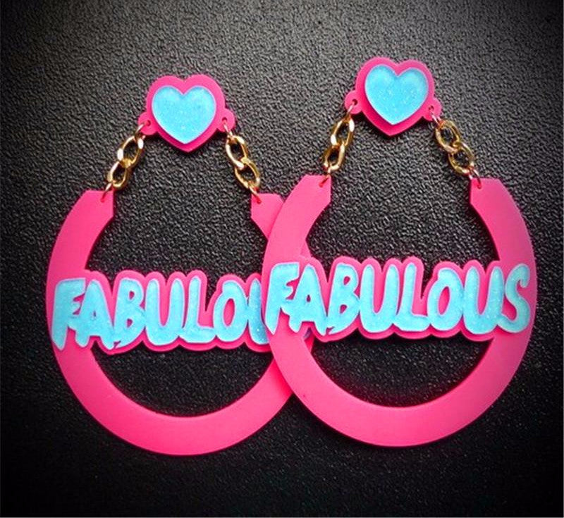 Fabulous Text Big Dangle Earrings