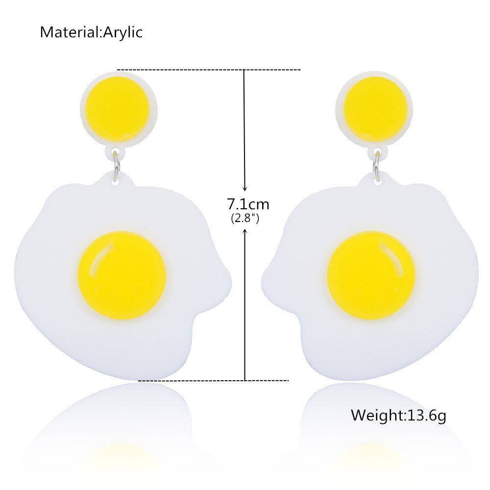 Long Yolk Shaped Dangling Earrings