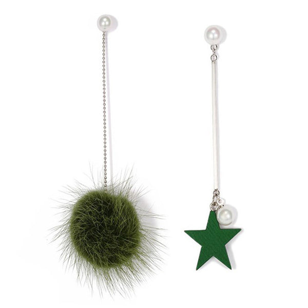 Feather Ball & Star Drop Earrings