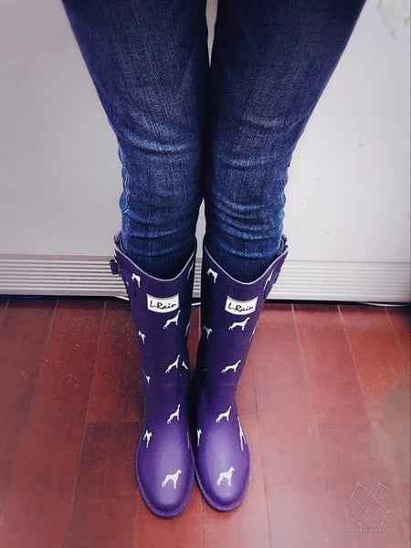 Dog Prints Rubber Rain Boots For Women