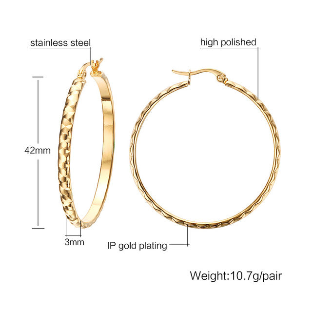 Gold Plated Big Hoop Earrings