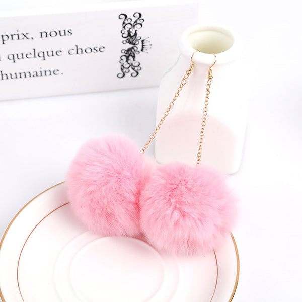Genuine Rabbit Fur Pom Pom Earrings