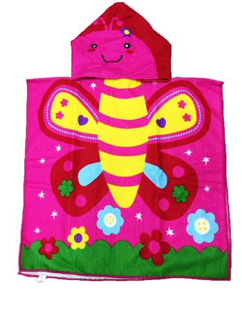 Cute Butterfly Cartoon Print Hooded Baby Towel