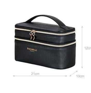 Double Layer PU Leather Multi Functional Make Up Bag Organizer