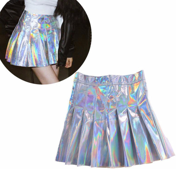 Holographic Silver Pleated Mini Skirt