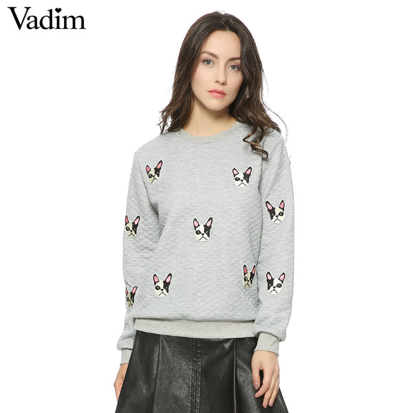 Cute Dog Face Print Pullovers