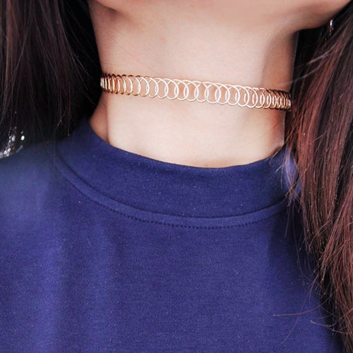 Hollow Metal False Collar Chokers Necklaces