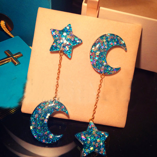 Stars & Moon Long Cute Earring