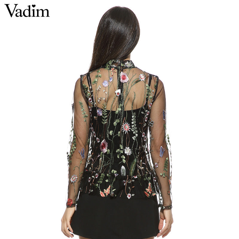 Sexy Transparent Flower Embroidery Shirt