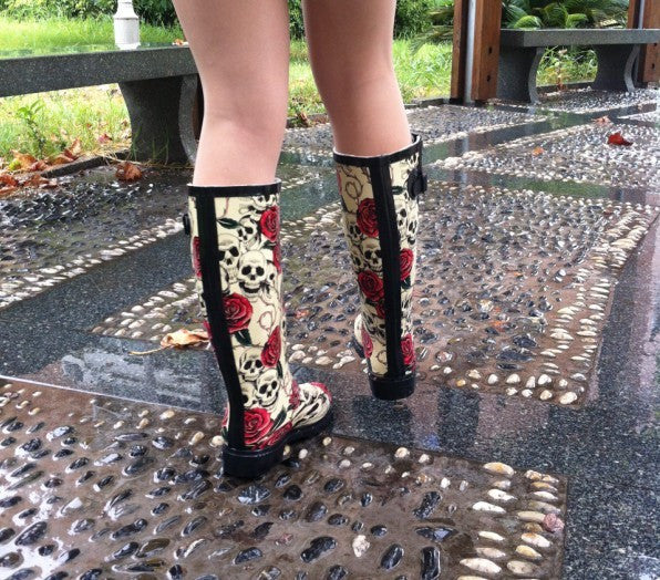 Rose Skull Rubber Rain Boots For Women