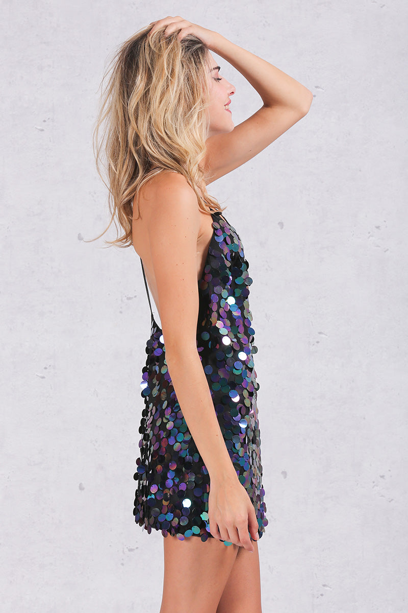 Backless Deep V Sequin Party Dress