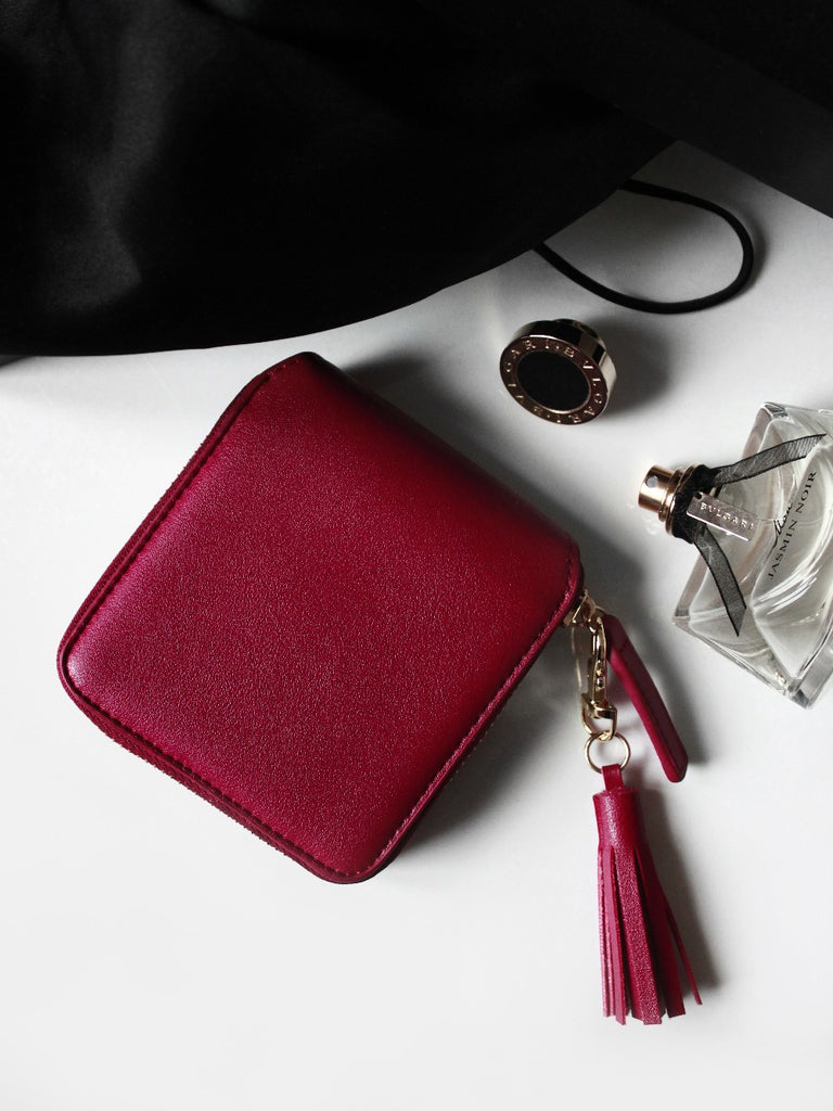 Leather Square Tassel Coin Purses
