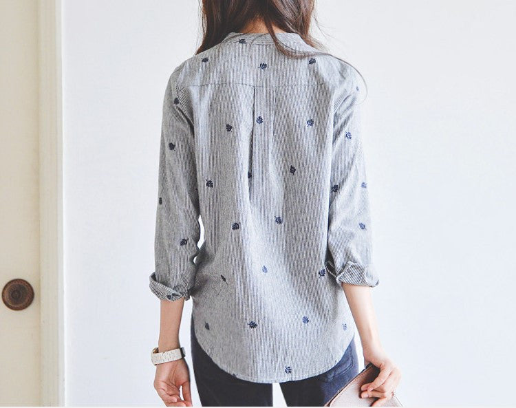 Autumn Leaves Embroidery Long Sleeve Shirt