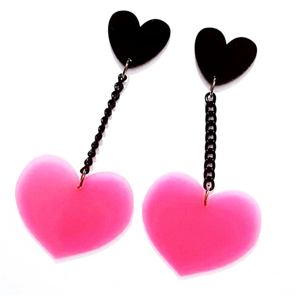 Cute Acrylic Hearts Charm Drop Earrings