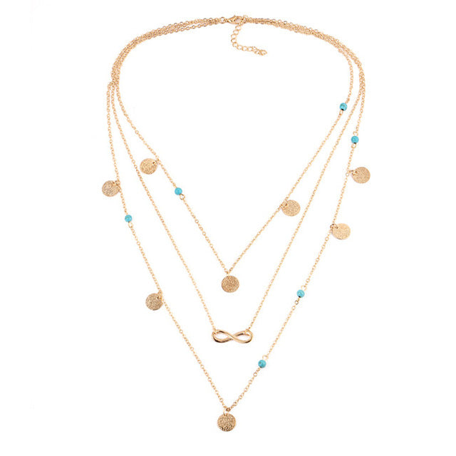 Multi Layer Leaf Chain Turquoise Necklaces