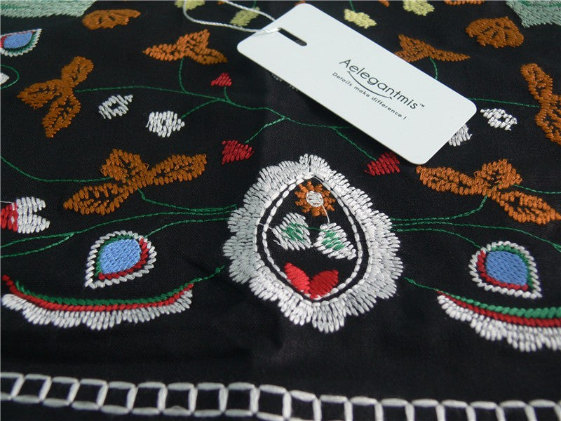 Ethnic Embroidery Casual A-line Mini Skirts