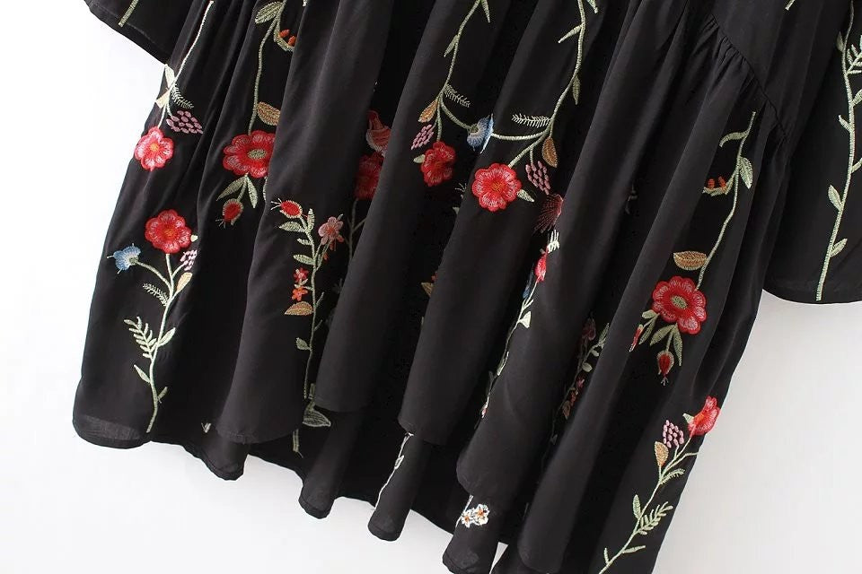 Floral Embroidered Round Neck Long Sleeve Dress