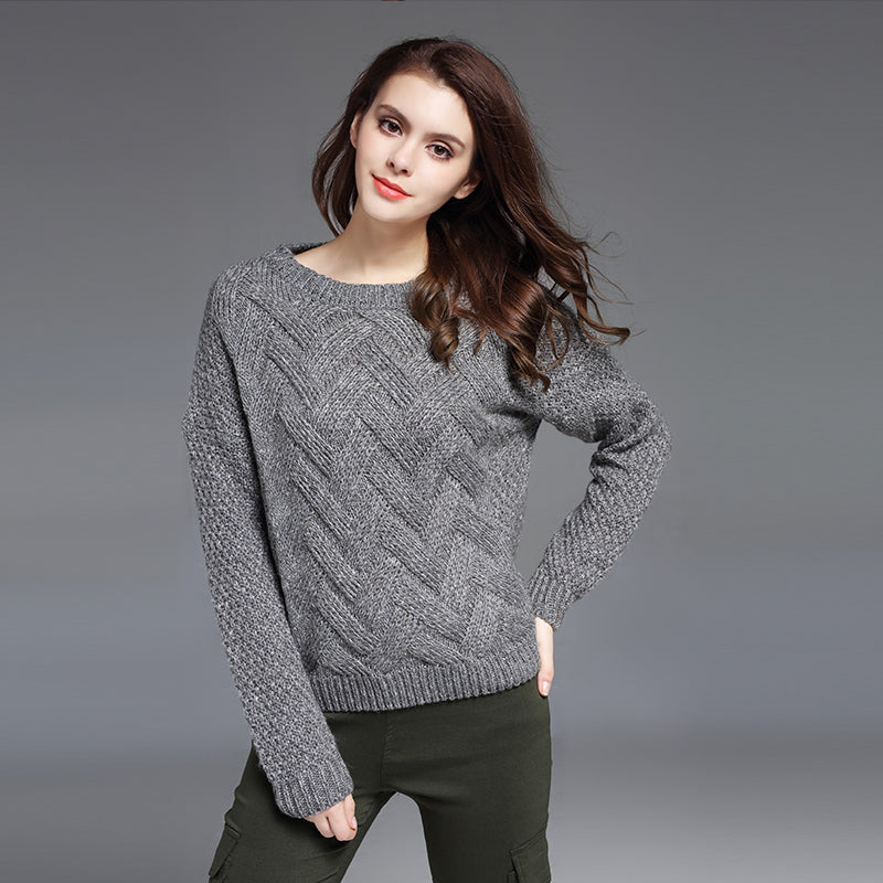 Loose O Neck Long Sleeve Wave Knit Sweater